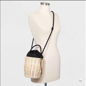 Zara Wicker Bucket Crossbody Bag